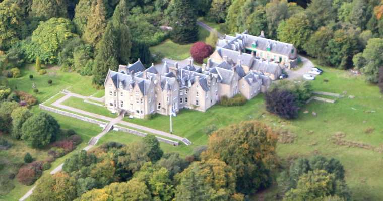 Glengarry Castle Hotel from the air